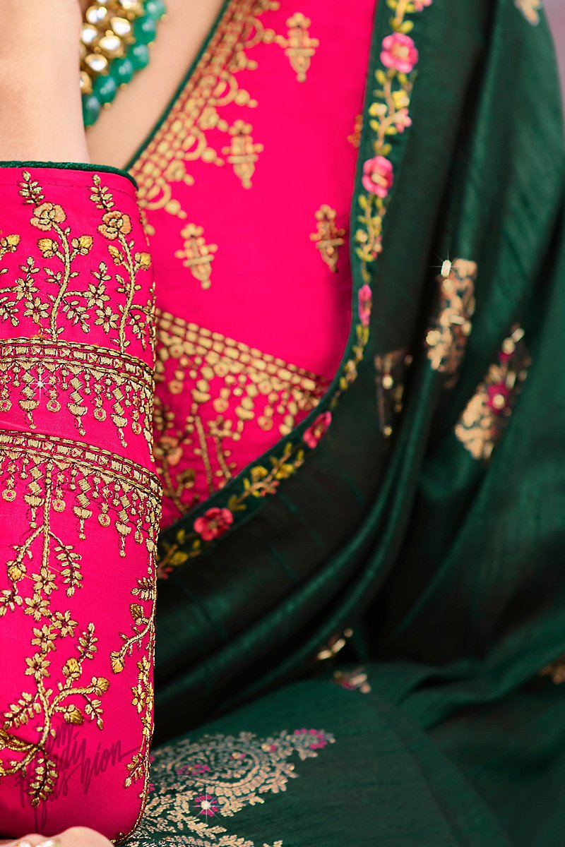 Dark Green and Dark Pink Weaving Silk Saree