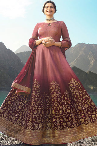 Onion Pink and Wine Shaded Silk Anarkali Suit