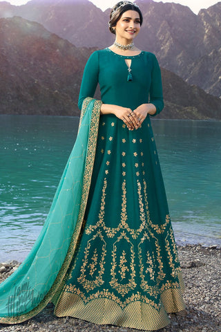 Green and Turquoise Silk Anarkali Suit