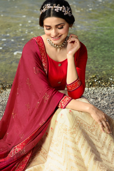 Dual Tone Red Cream and Maroon Silk Anarkali Suit