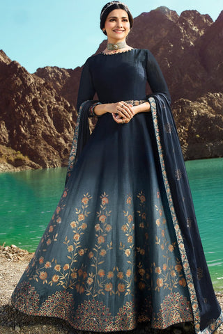 Shaded Blue Silk Anarkali Suit