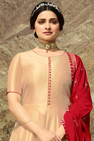 Cream Light Peach Shaded and Maroon Silk Anarkali Suit