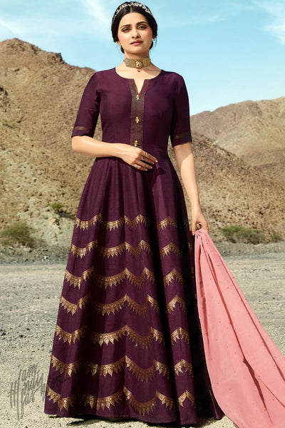 Wine and Baby Pink Silk Anarkali Suit