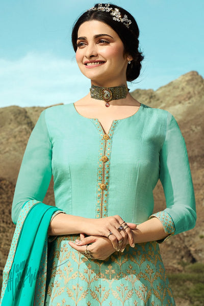 Firozi and Turquoise Silk Anarkali Suit