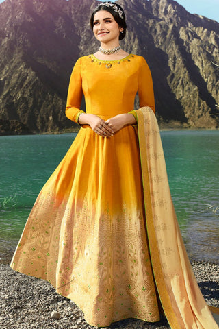 Mustard and Beige Silk Anarkali Suit