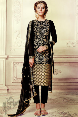Indi Fashion Black Georgette Party Wear Straight Suit