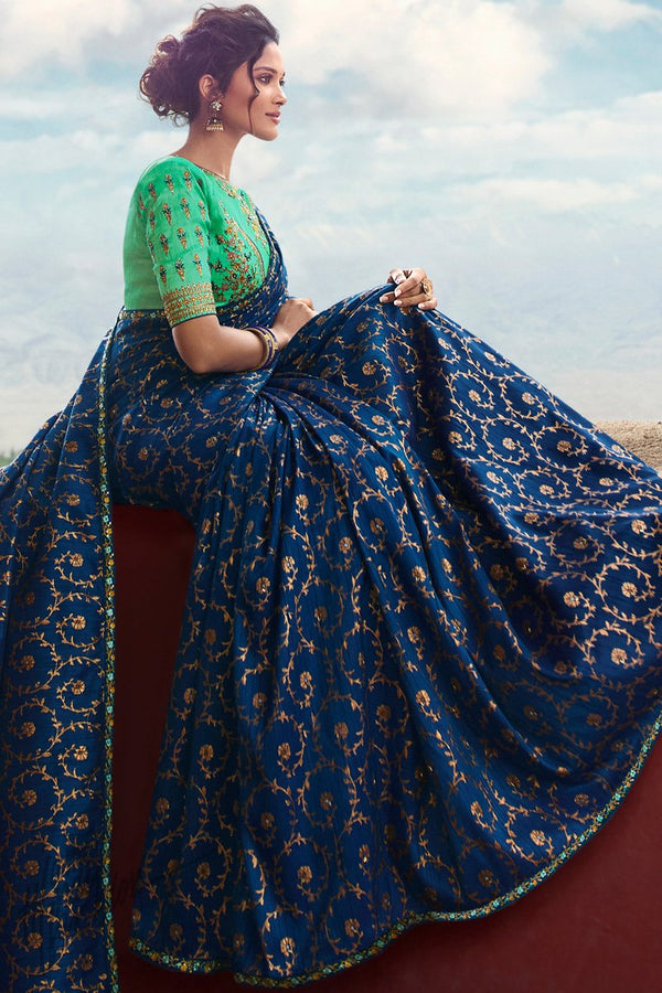Royal Blue and Mint Green Weaving Silk Saree