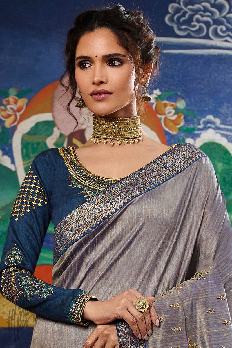 Gray and Navy Blue Weaving Silk Saree