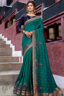 Green and Navy Blue Weaving Silk Saree