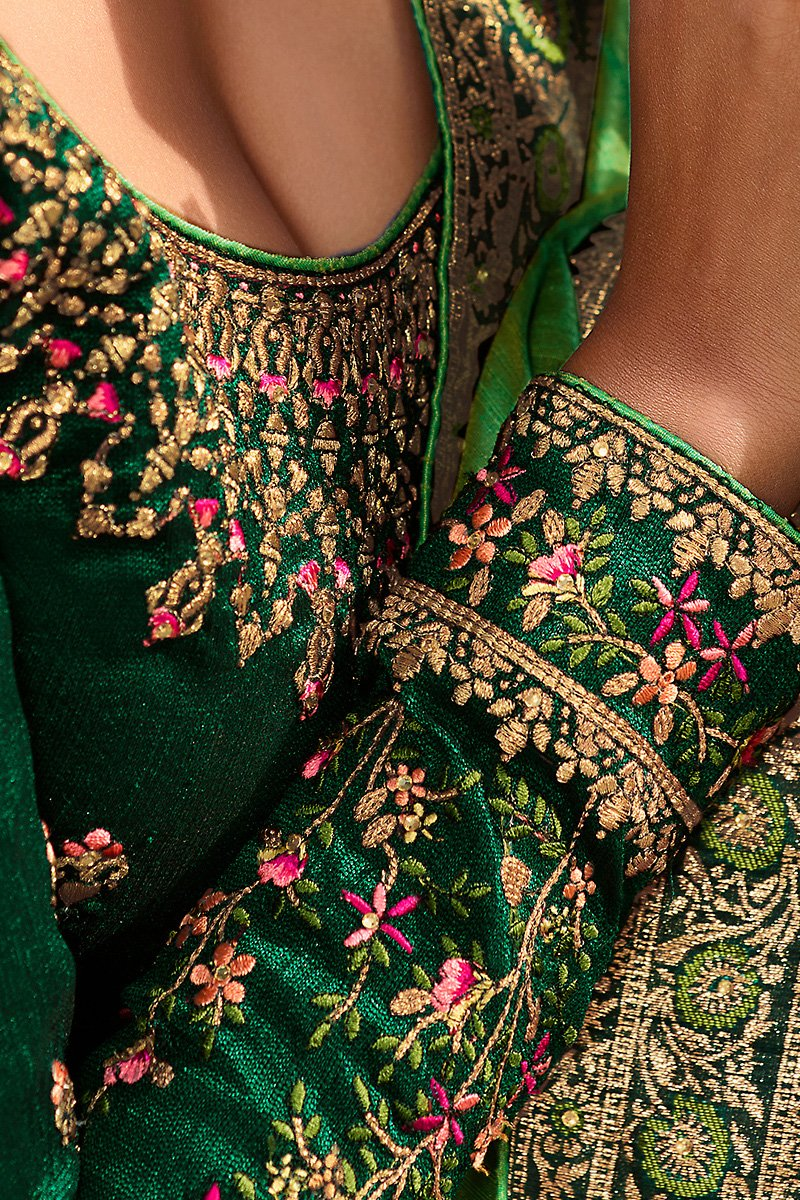 Parrot and Bottle Green Weaving Silk Saree