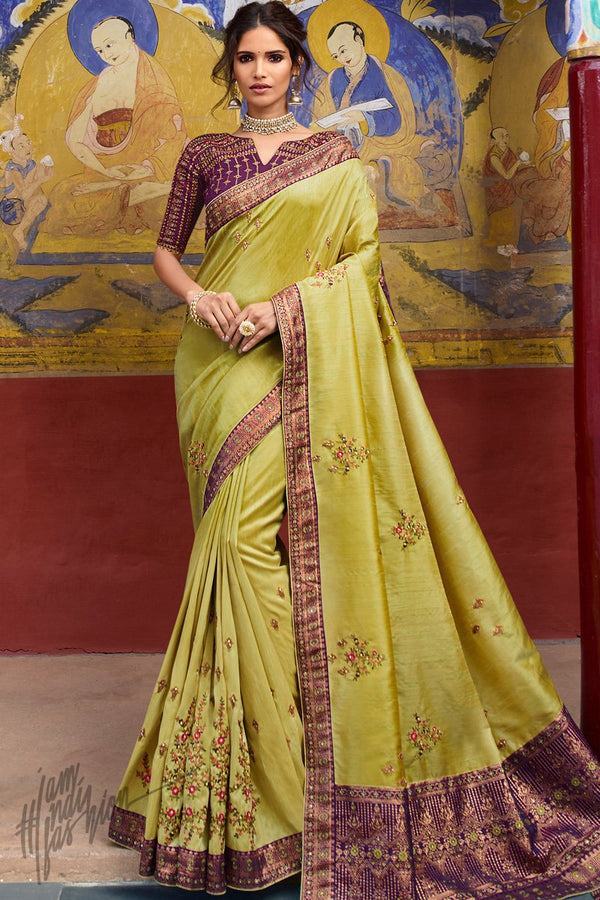 Lemon Yellow and Wine Weaving Silk Saree