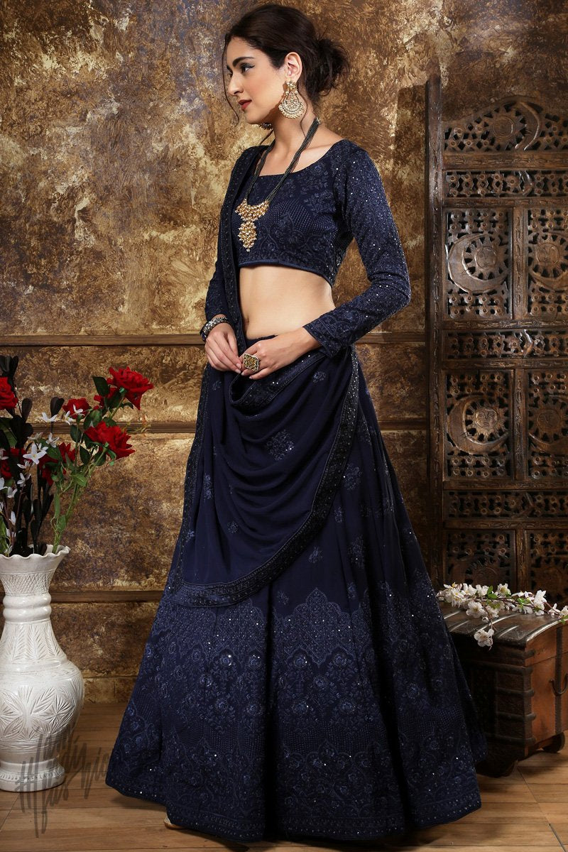 Navy Blue Georgette Wedding Lehenga Set