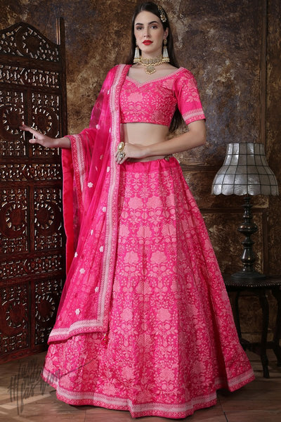 Pink Silk Wedding Lehenga Set