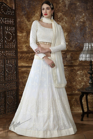 Off White Georgette Wedding Lehenga Set