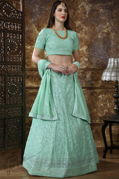 Mint Green Georgette Wedding Lehenga Set
