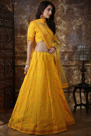 Yellow Silk Wedding Lehenga Set