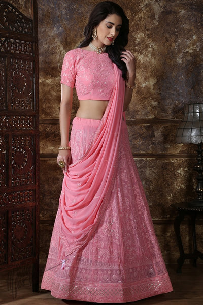 Dusty Pink Georgette Wedding Lehenga Set