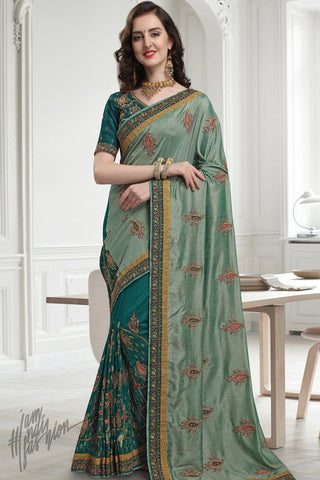Olive and Rama Green Silk Saree