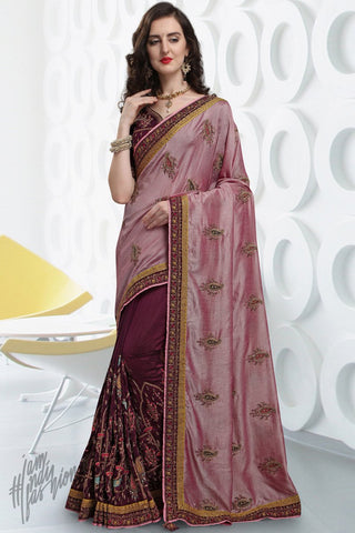 Onion Pink and Wine Silk Saree