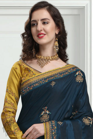 Navy Blue and Mustard Silk Saree