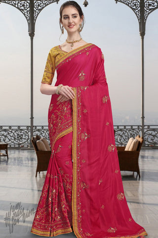 Pink and Mustard Silk Saree