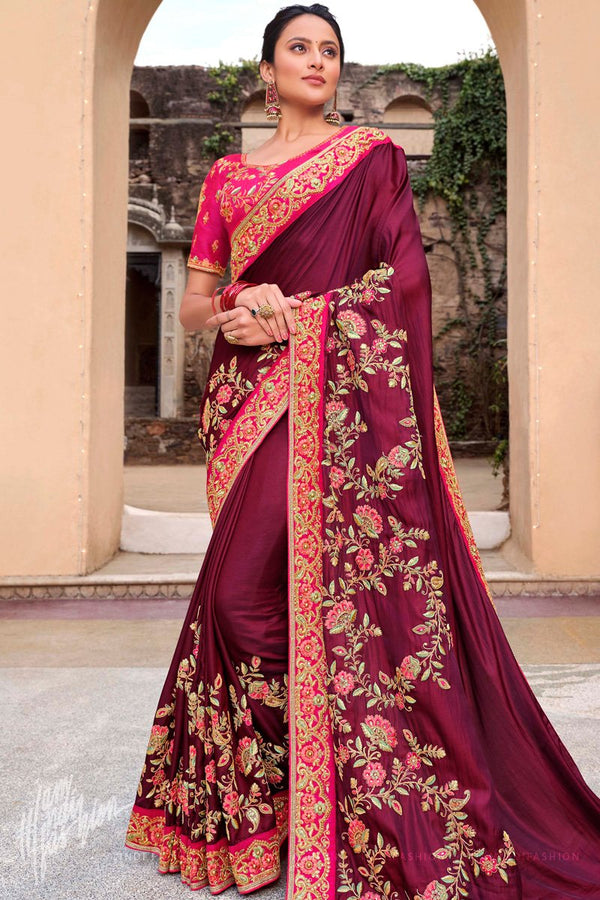 Wine and Pink Satin Silk Embroidered Saree