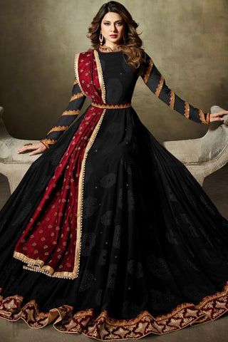 Indi Fashion Black and Red Net Floor Length Party Wear Suit