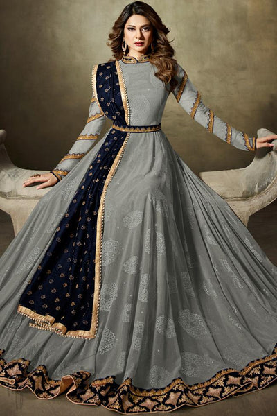 Indi Fashion Gray and Blue Net Floor Length Party Wear Suit