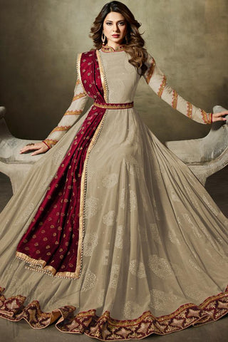 Indi Fashion Light Beige and Maroon Net Floor Length Party Wear Suit