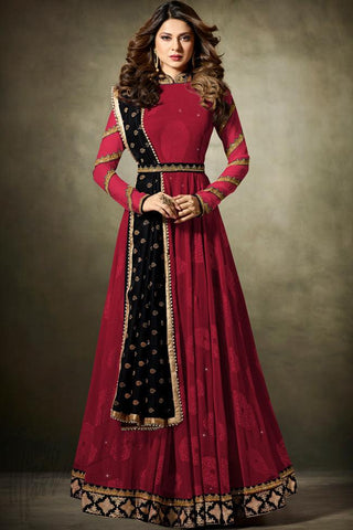 Indi Fashion Red and Black Net Floor Length Party Wear Suit