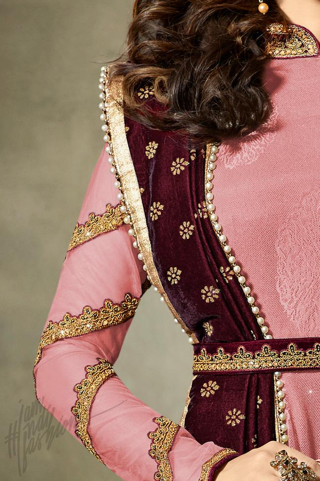 Indi Fashion Baby Pink and Maroon Net Floor Length Party Wear Suit