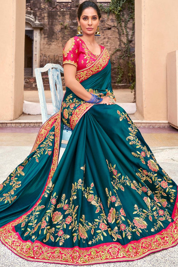 Peacock Blue and Pink Satin Silk Embroidered Saree