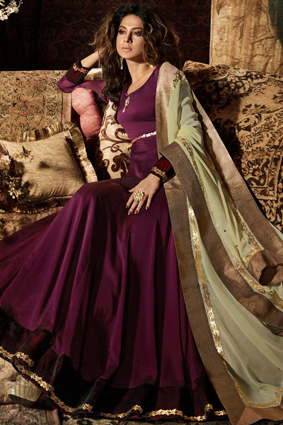 Indi Fashion Wine and Light Green Silk Georgette Party Wear Salwar Suit