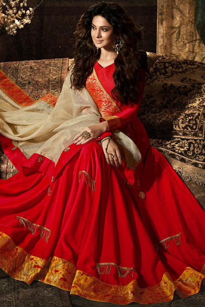 Indi Fashion Red and Cream Satin Party Wear Salwar Suit