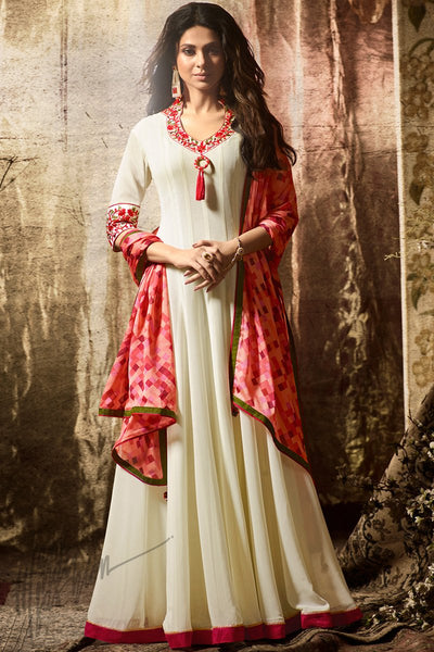 Indi Fashion Cream and Pink Georgette Party Wear Salwar Suit