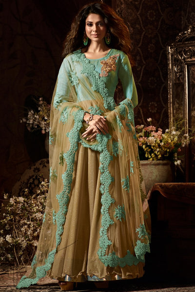 Indi Fashion Sea green and Gold Silk Georgette Party Wear Salwar Suit