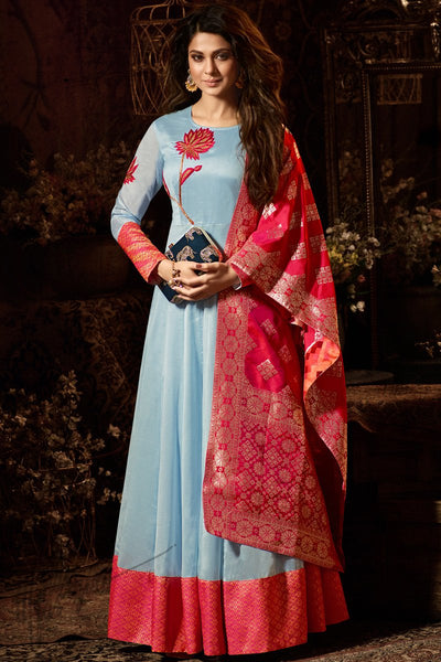 Indi Fashion Light Blue and Magenta Chanderi Silk Party Wear Salwar Suit