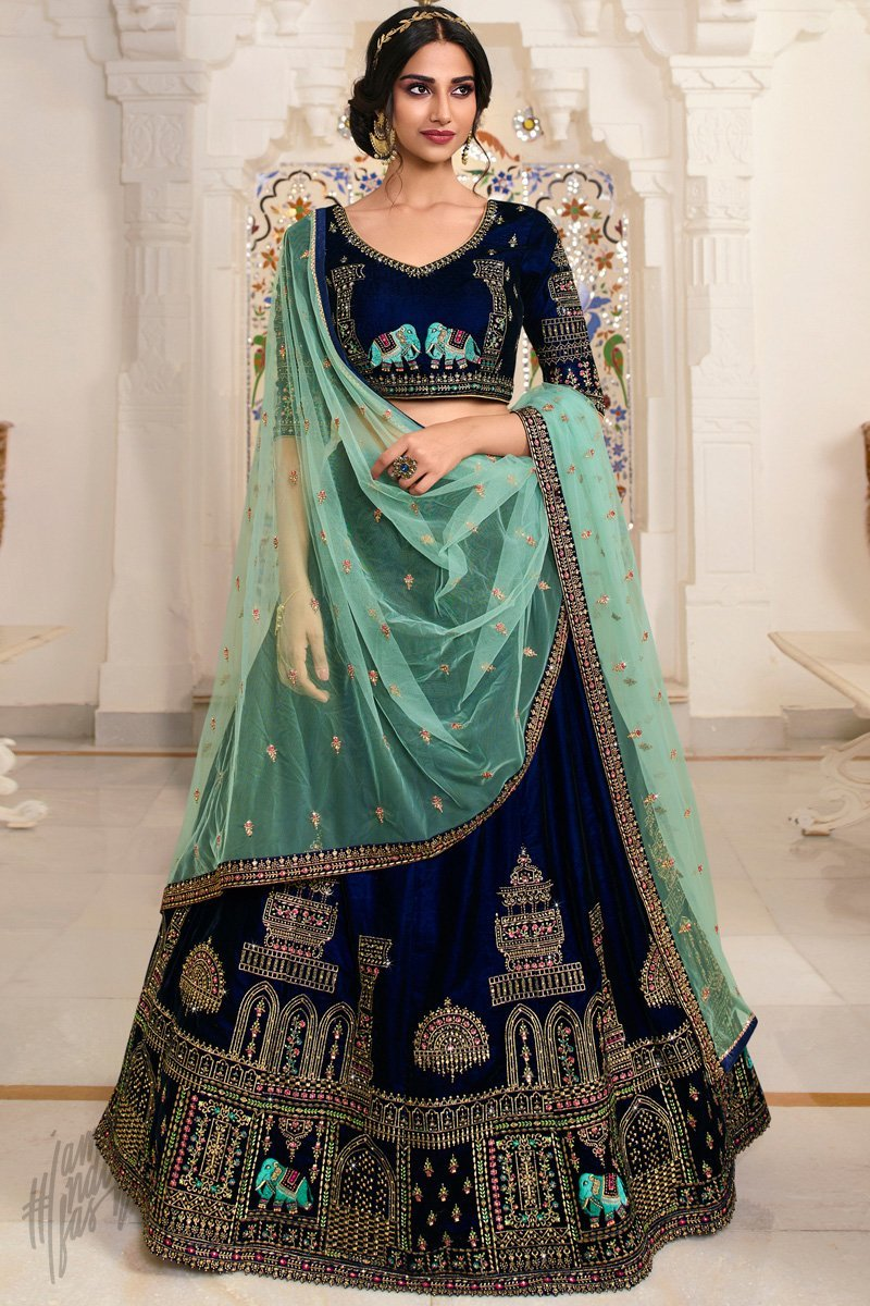 Buy Navy Blue And Pista Green Velvet Wedding Lehenga Set Online At Indi Fashion