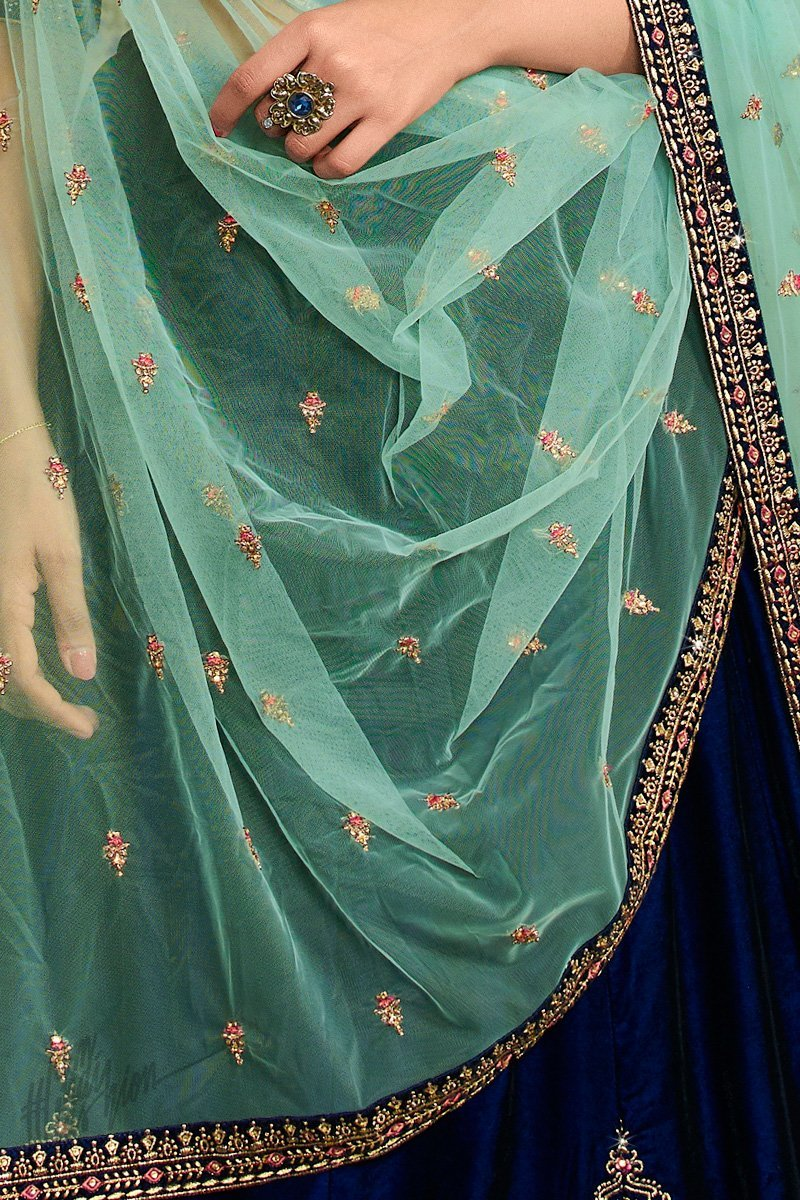 Navy Blue and Pista Green Velvet Wedding Lehenga Set