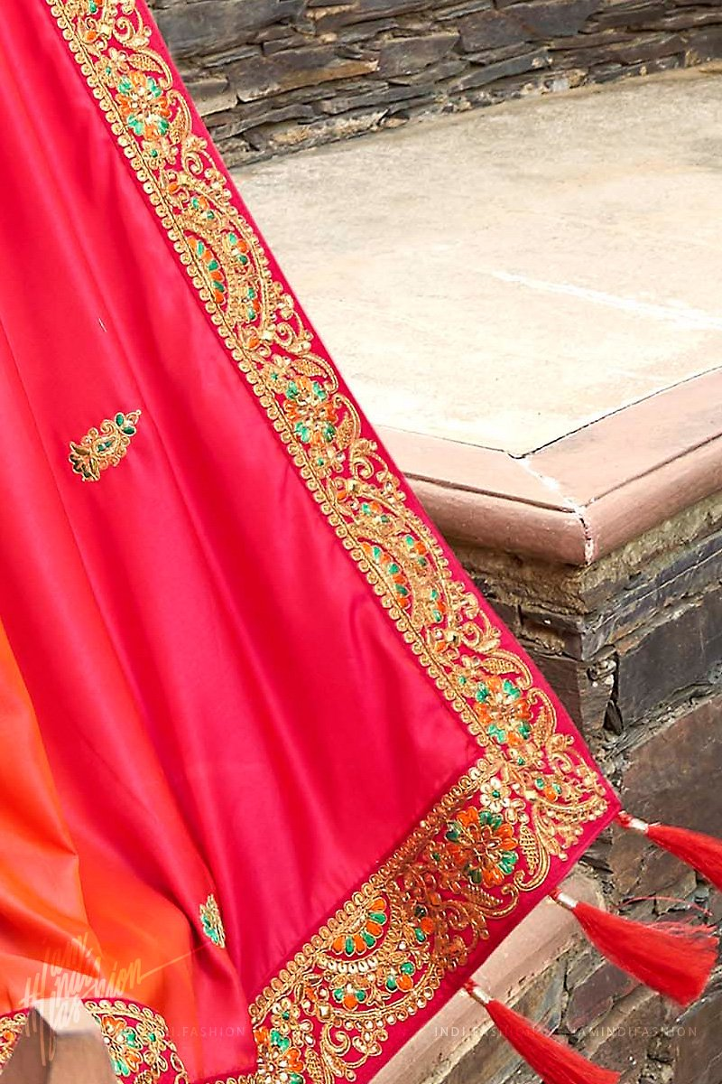 Red and Orange Ombre Satin Silk Embroidered Saree