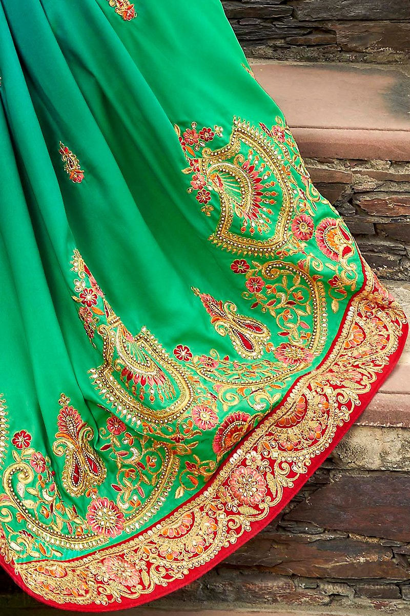 Green Ombre and Red Satin Silk Embroidered Saree