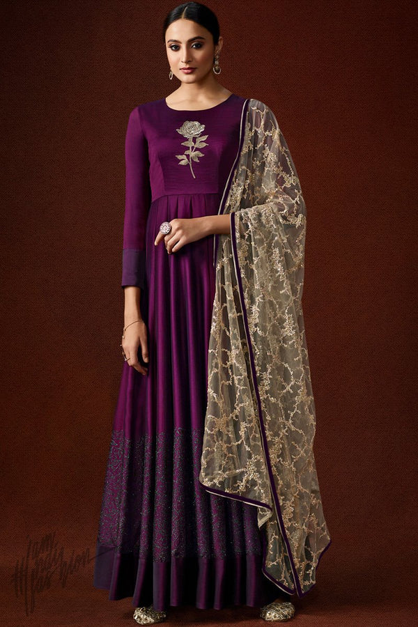 Dual Tone Wine Silky Georgette Gown