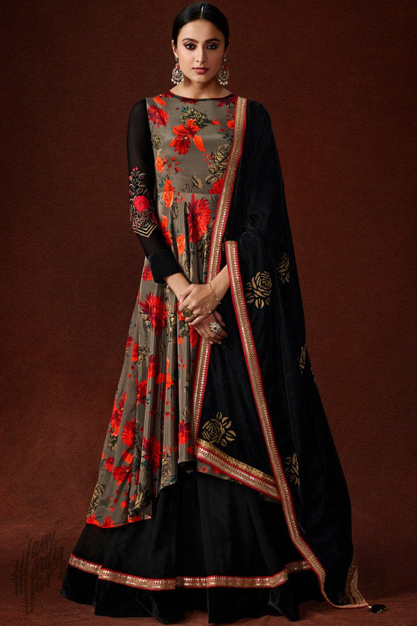 Gray and Black Silky Crepe and Georgette Lehenga Style Gown