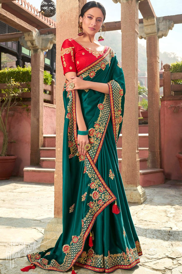 Peacock Green and Red Satin Silk Embroidered Saree