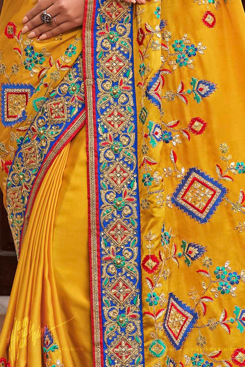 Mustard and Royal Blue Satin Silk Embroidered Saree
