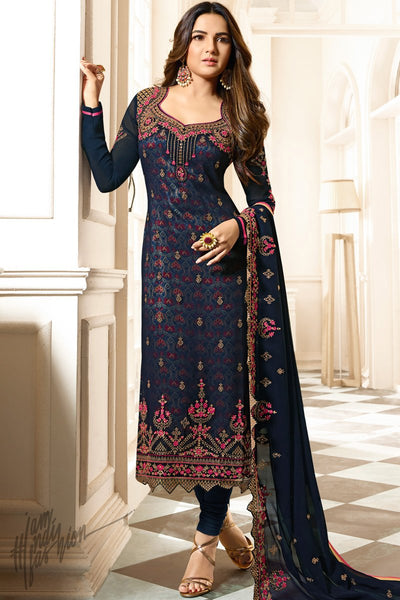 Blue Faux Georgette Straight Suit