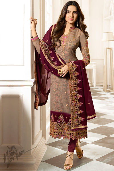 Camel Brown and Wine Faux Georgette Straight Suit