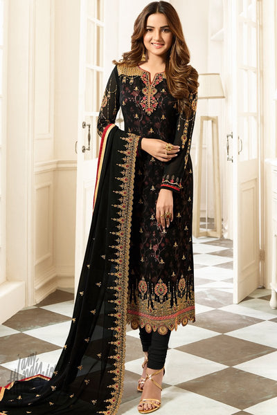 Black Faux Georgette Straight Suit