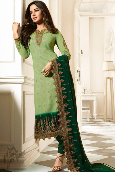 Fern and Forest Green Faux Georgette Straight Suit