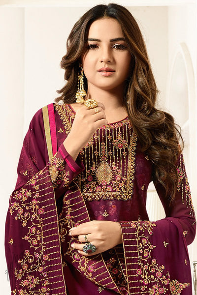 Jam Purple Faux Georgette Straight Suit